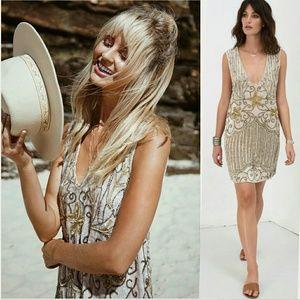 New spell designs elsa sequin dress eggnog S gold
